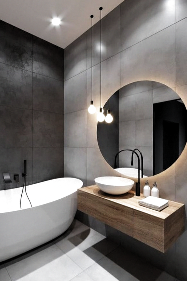 Modern Bathroom Trends Favour Light Colour Schemes With Whites Greys And Natural Wood Tones In 2020 Modern Bathroom Trends Bathroom Inspiration Modern Black Bathroom