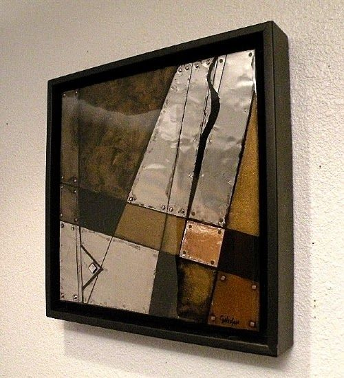"Mixed Media Artists International: Mixed Media,Metal Abstract Painting ""Jigsaw B"" by Colorado Mixed Media Artist Carol Nelson"