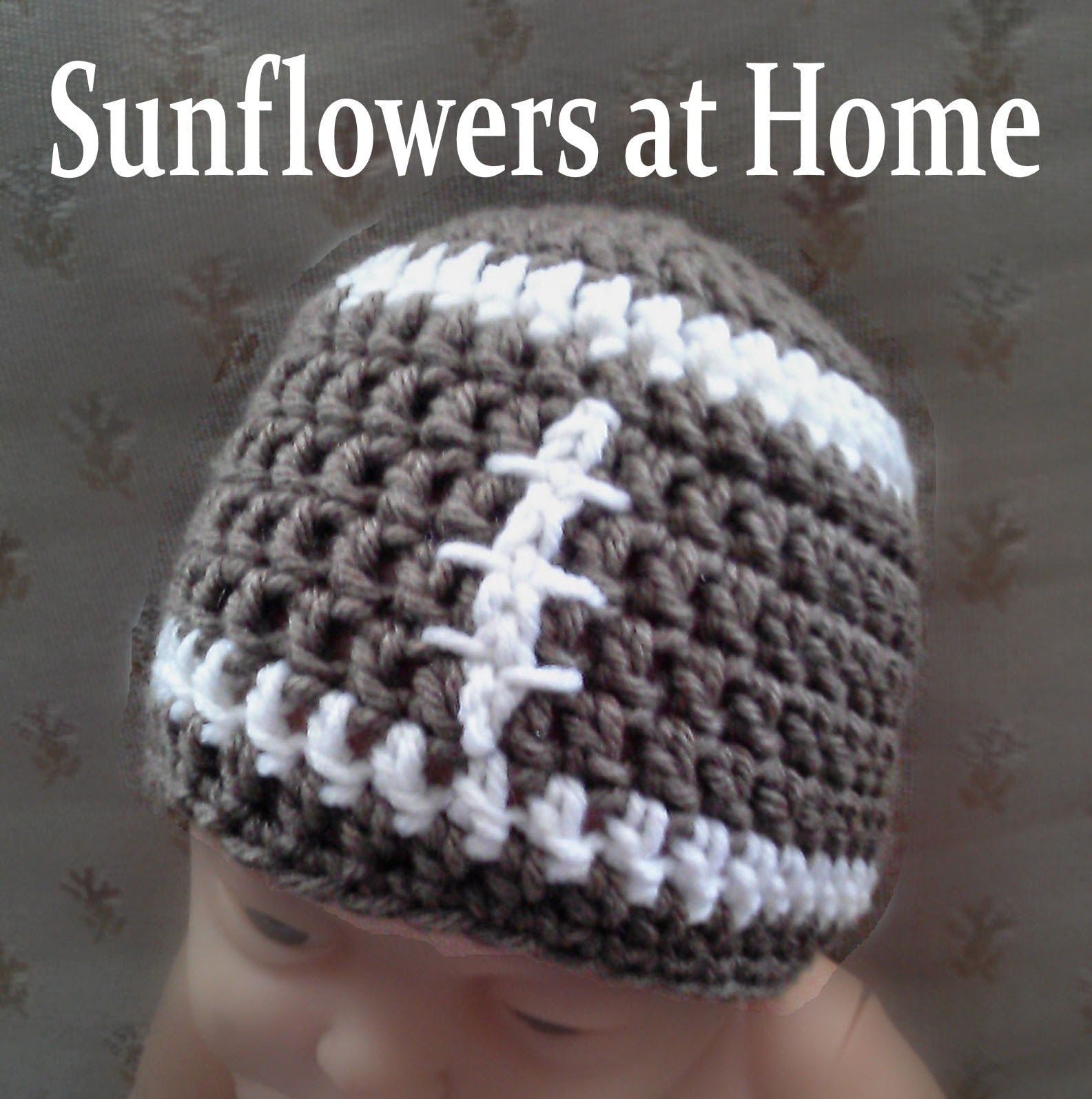 Sunflowers At Home: crochet football hat free pattern thanks ...