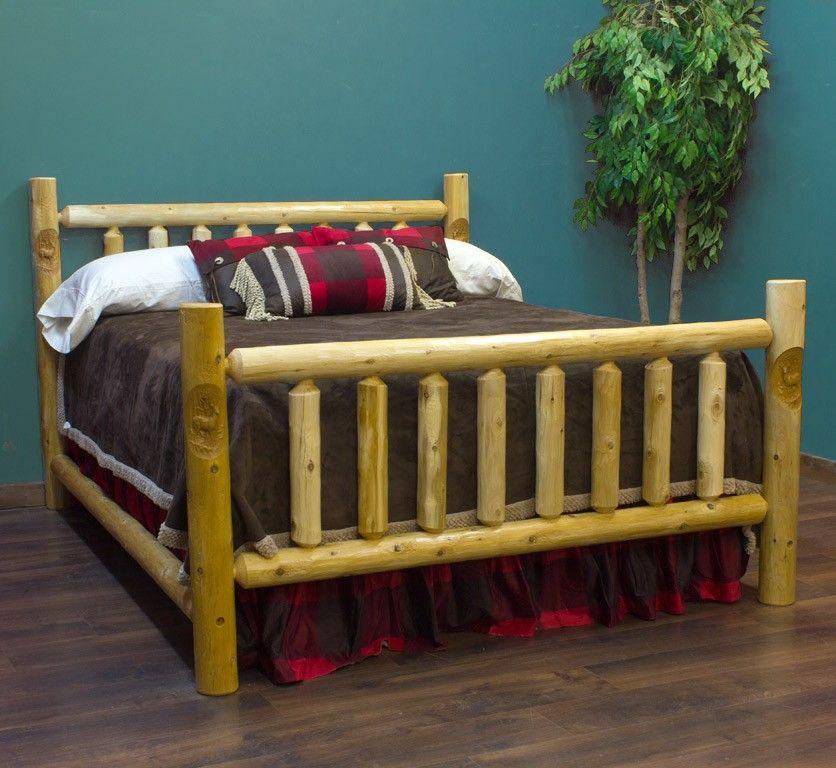 lakeland carved cedar log bed option for bear carvings bear