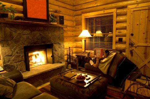 Cozy Log Cabin Interior With Fire In The Fireplace Vision Board