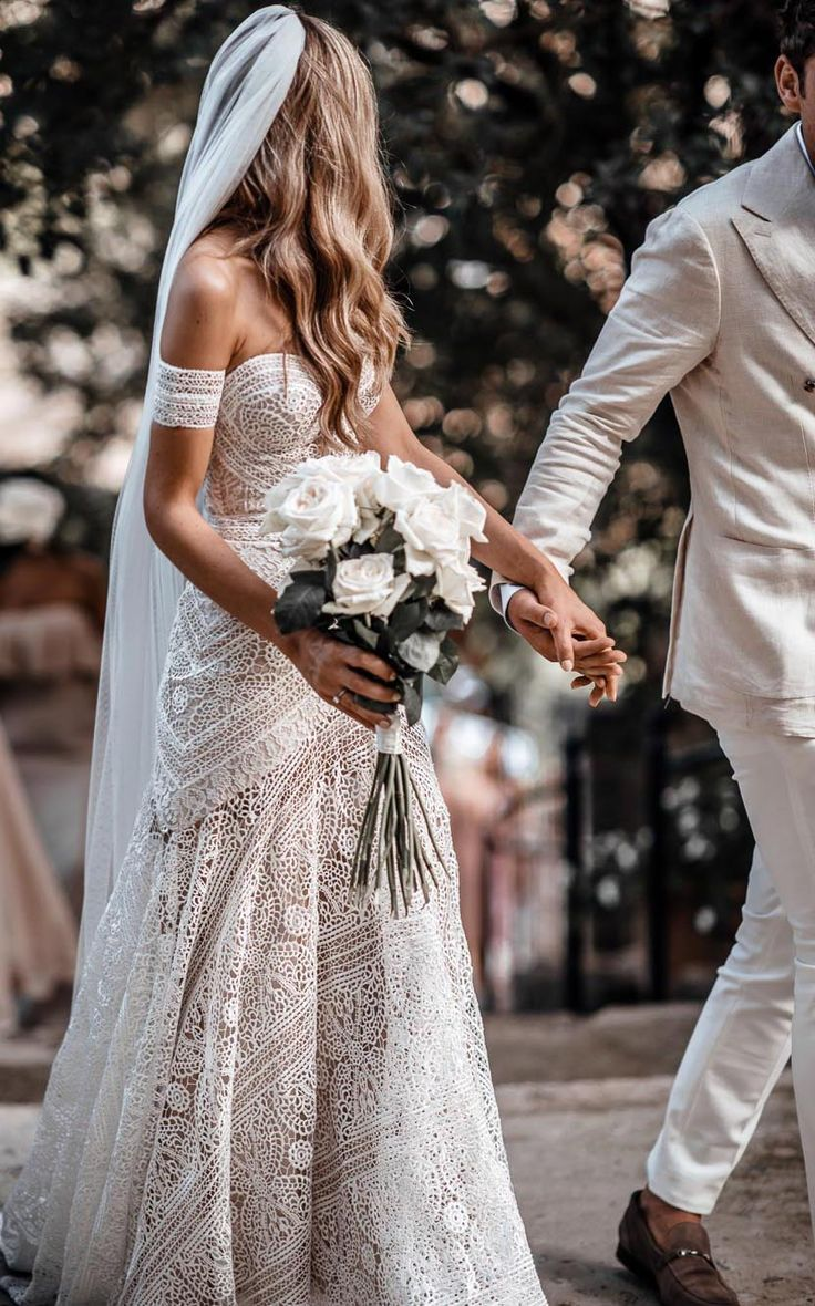 Best dresses to wear to a beach wedding  Ivory Lace Beach Wedding Dresses Sweetheart Neck Rustic Boho Wedding