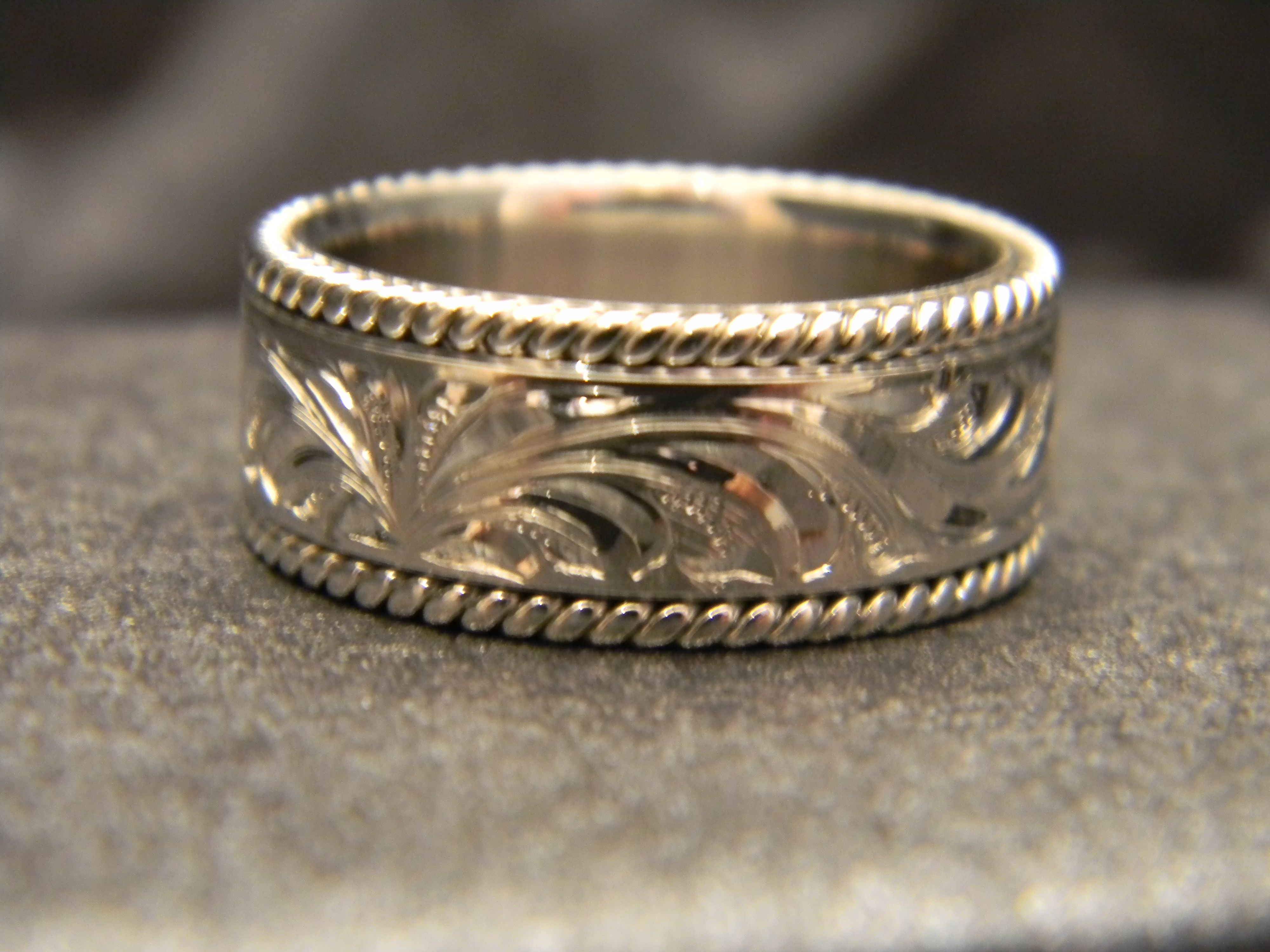 9mm White Gold Engraved Flat Rope Ring with Bright Cut Engraving