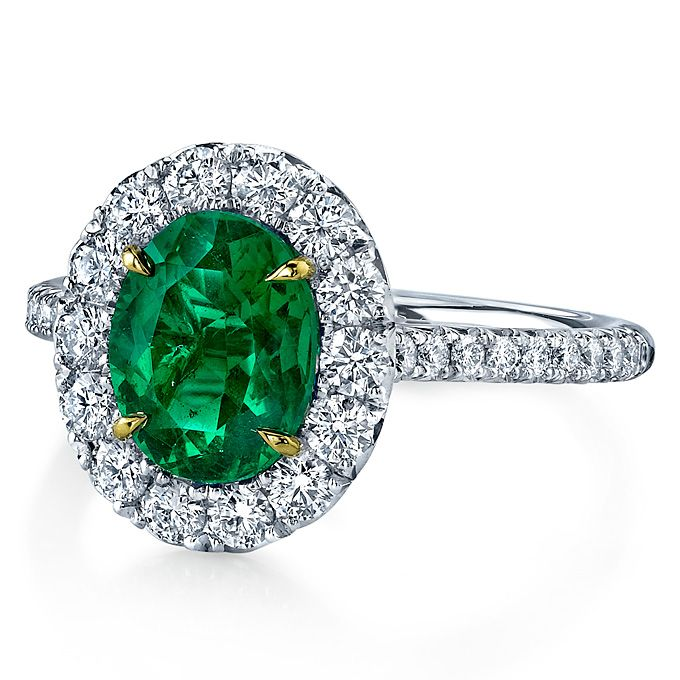 Emerald And Diamond Engagement Ring Platinum Handcrafted With A Carat Oval Cut Center Stone Accented