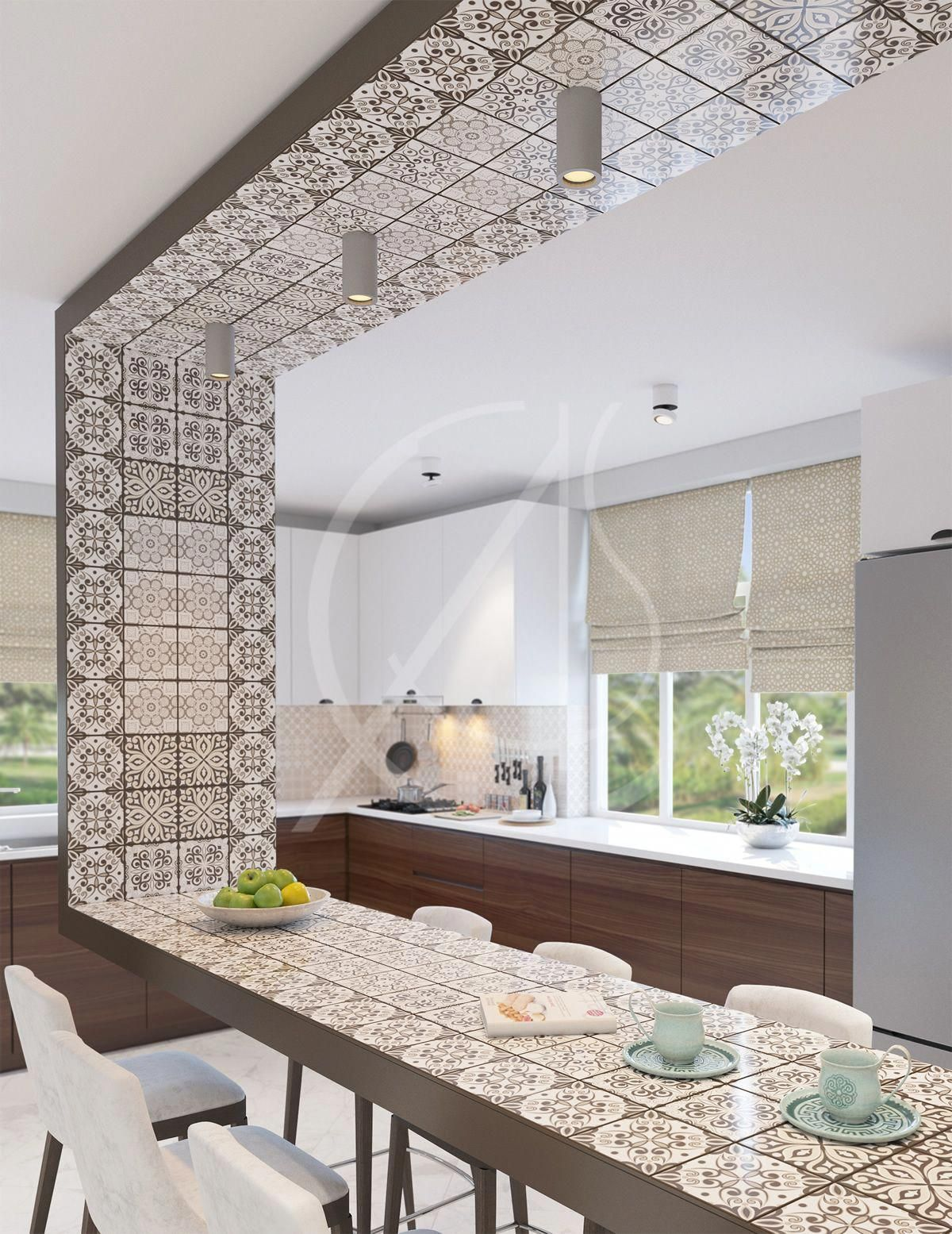 The Suspended Counter Is The Highlight Of The Kitchen In The Modern Islamic Home With Geometric Patterned Tiles That Contras Luxury Kitchen Designs In 2019