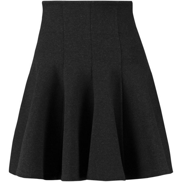 McQ Alexander McQueen Flared stretch-jersey mini skirt (495 BRL) ❤ liked on Polyvore featuring skirts, mini skirts, charcoal, ruffle mini skirt, stretch jersey, short skirts, frilly skirts and flare skirt