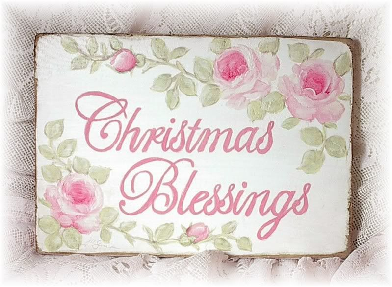 christmas blessings sign shabby cottage chic hp pink roses shabby weihnachten. Black Bedroom Furniture Sets. Home Design Ideas