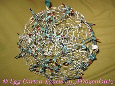 the chicken chick chicken wire lighted christmas balls tis the season - Chicken Wire Christmas Balls