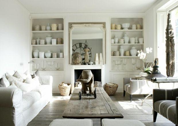 Wohnzimmer einrichten Wandregal Keramikgefäße Sofa Leinen - wohnzimmer romantisch einrichten