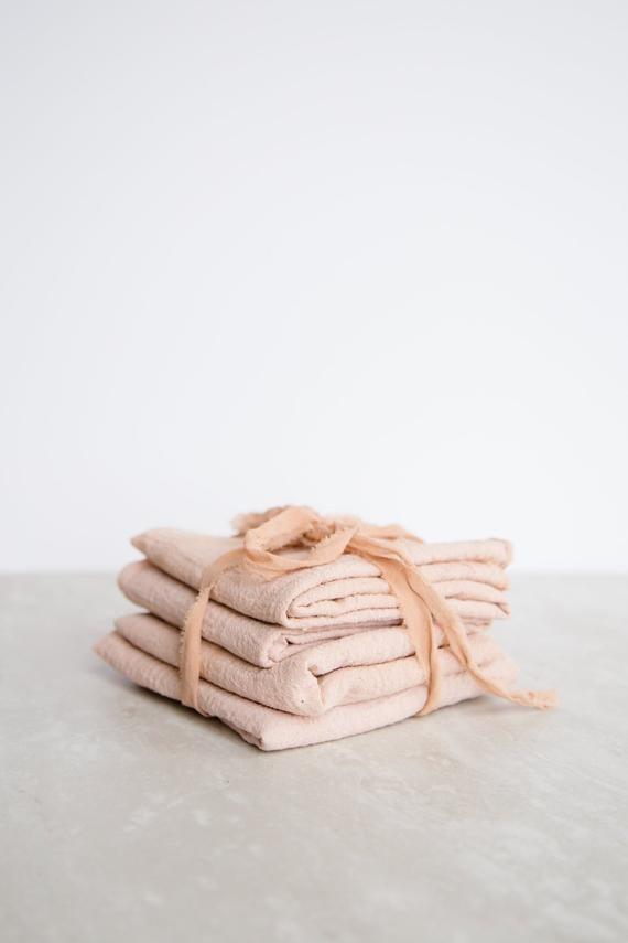 Blush Pink Cotton Gauze Plant Dyed Naturally Dyed Cloth Napkin Set or Single Napkin Zero Waste Eco F #clothnapkins