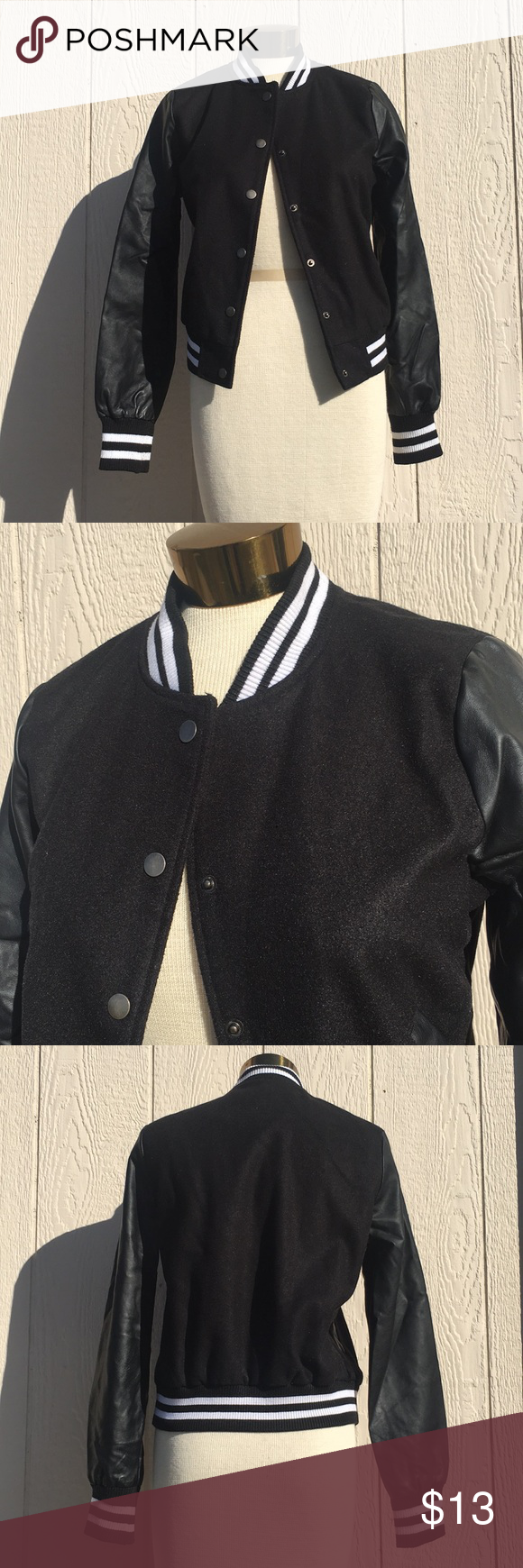Black and White Varsity Jacket Lightly used black and white varsity jacket. No damage and clean. Buttons snap. Keeps you warm on a chilly day. Comes from a smoke free home Jackets & Coats #varsityjacketoutfit