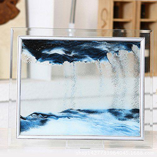 BTRSTT Blue Moving Sand Glass Picture Home Office Desk Decor ...