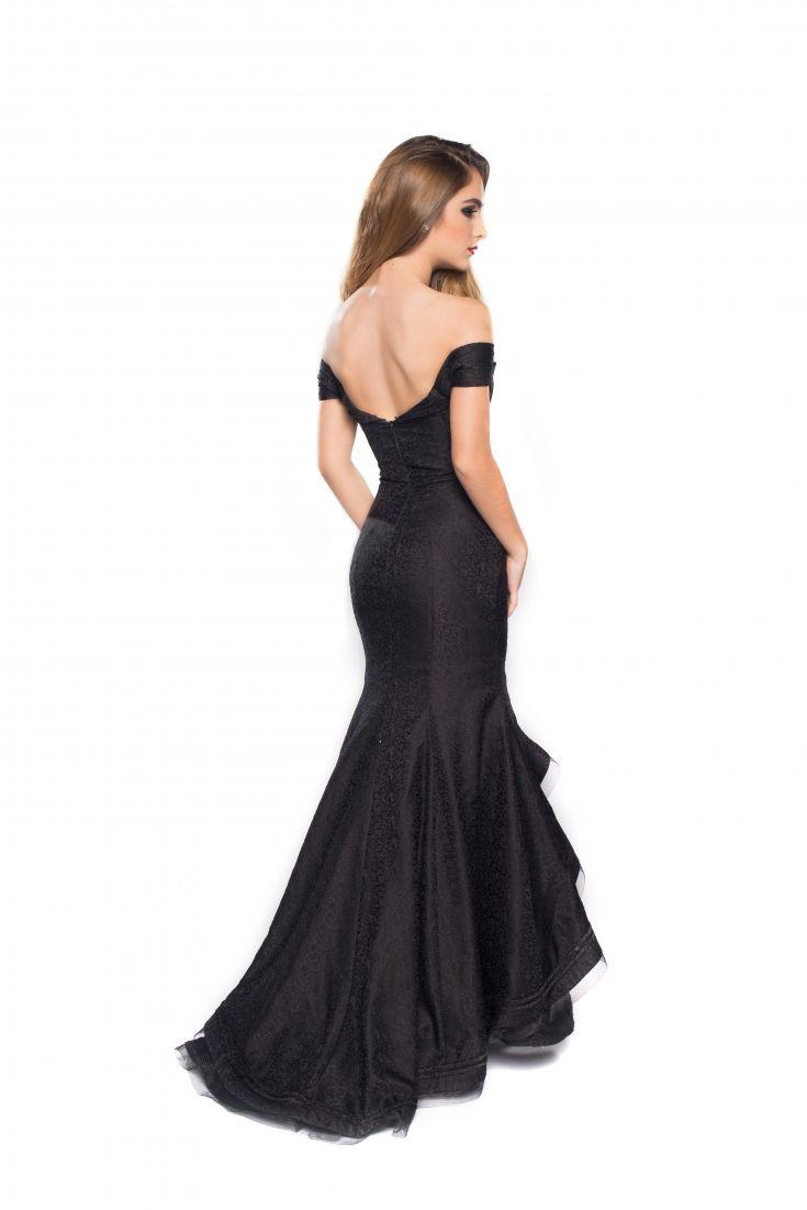9510623f236c Vestido largo negro, asirenado, sin hombros, brocado de flores ...