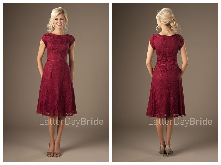 bbe8caa0c35f The Betty, a modest bridesmaid dress in red by LatterDayBride  LDSBride  blog   5 Modest Bridesmaid Dresses from LatterDayBride for 2018