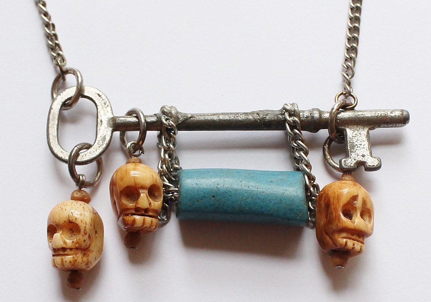 Antique Skeleton Key, Carved Bone Skull Pendant Necklace by paststore on Etsy