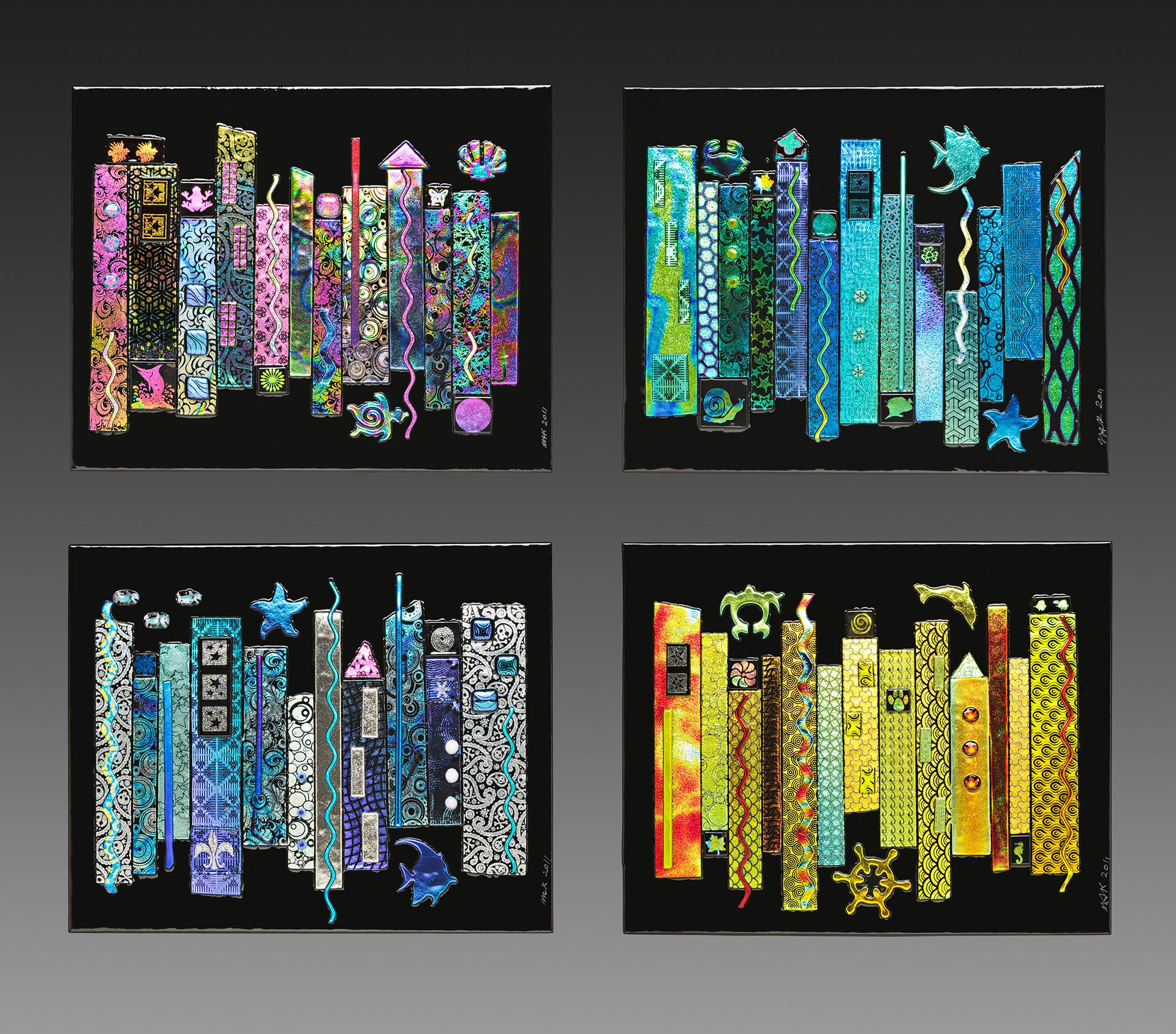 glass for sale jazz seasons dichroic fused glass 4 panel wall art artsyhome