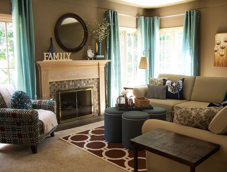 An inviting living room featuring turquoise curtains, fun patterns ...
