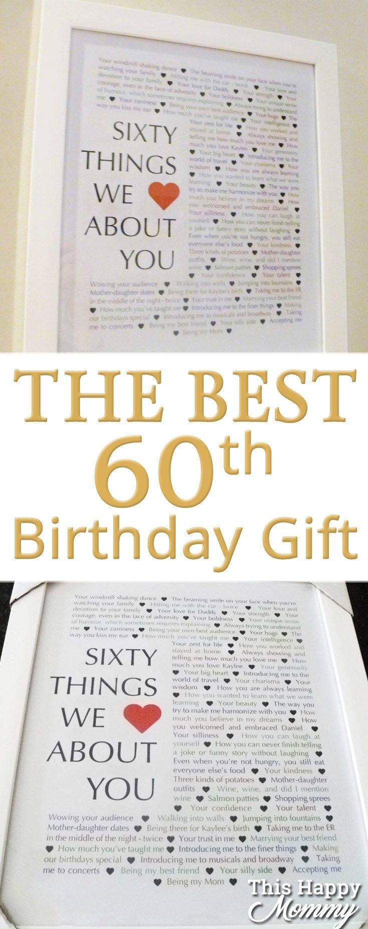 60 Things We Love About You The Perfect Homemade 60th Birthday Gift