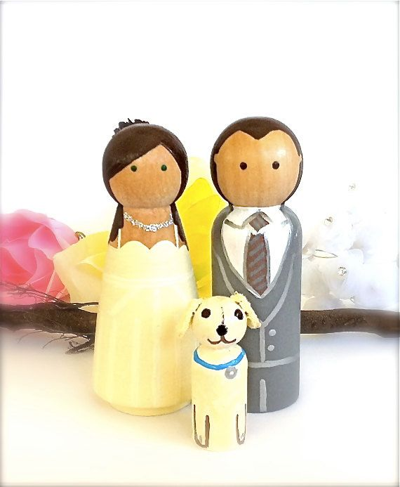 Items Similar To Personalized Wedding Cake Toppers With Pet Natural Wood Peg Dolls Custom Topper Keepsake Anniversary Decor Party Family Bridal On Etsy