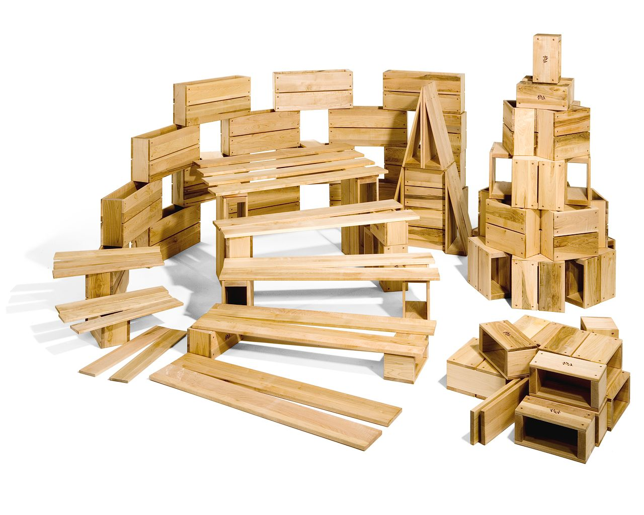 Child craft wooden blocks - Large Muscles And Imaginations Are Hard At Work When Children Build With Hollow Blocks