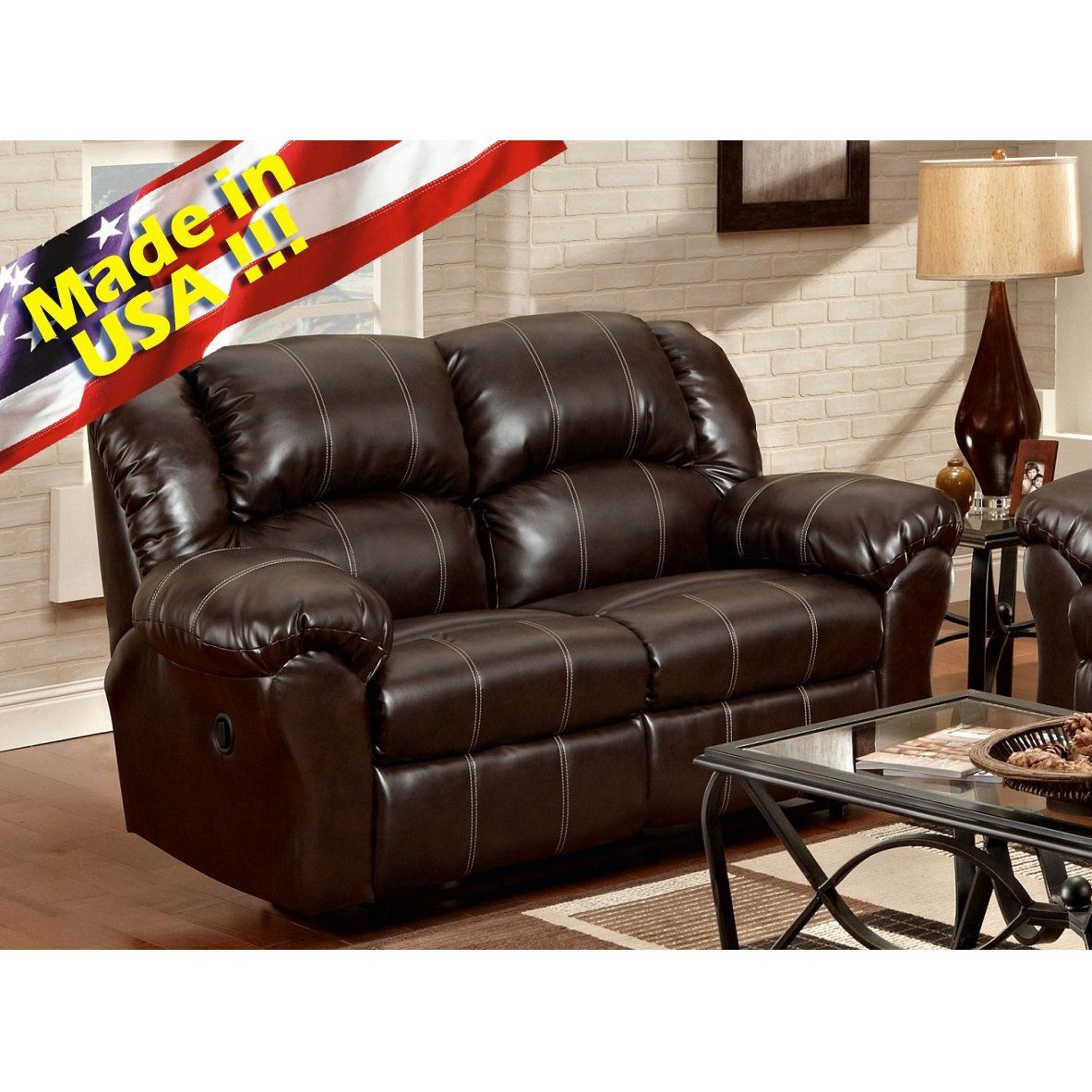 Furnituremaxx Dual Reclining Brown Leather Living Room Reclining Loveseat Made In Usa Loveseats Chelsea Home Furniture Furniture Living Room Leather #usa #made #living #room #furniture