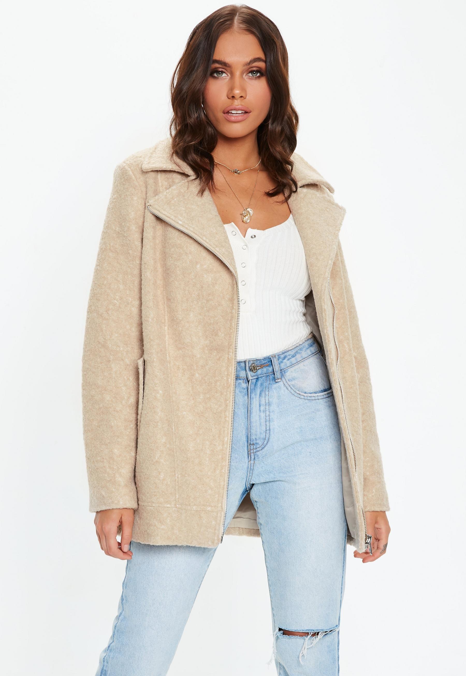 Tan Boucle Biker Coat Missguided Coats jackets women