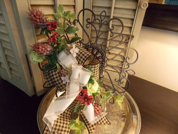 WREATH and WROUGHT IRON Floral Arrangement by VintageCreativeAccen, $35.00