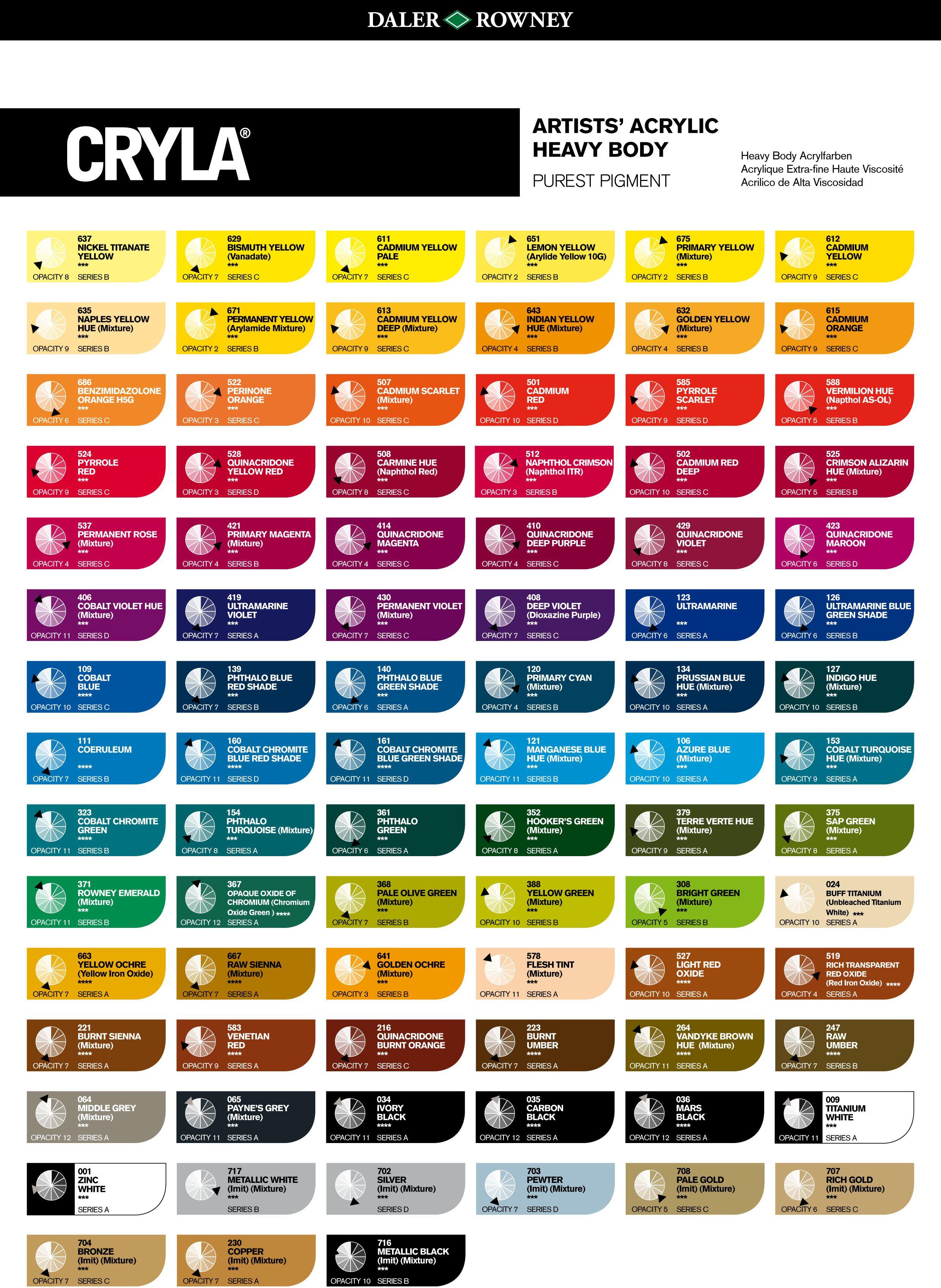Folk art color chart acrylic paint - Cryla Artists Acrylic Colour Chart