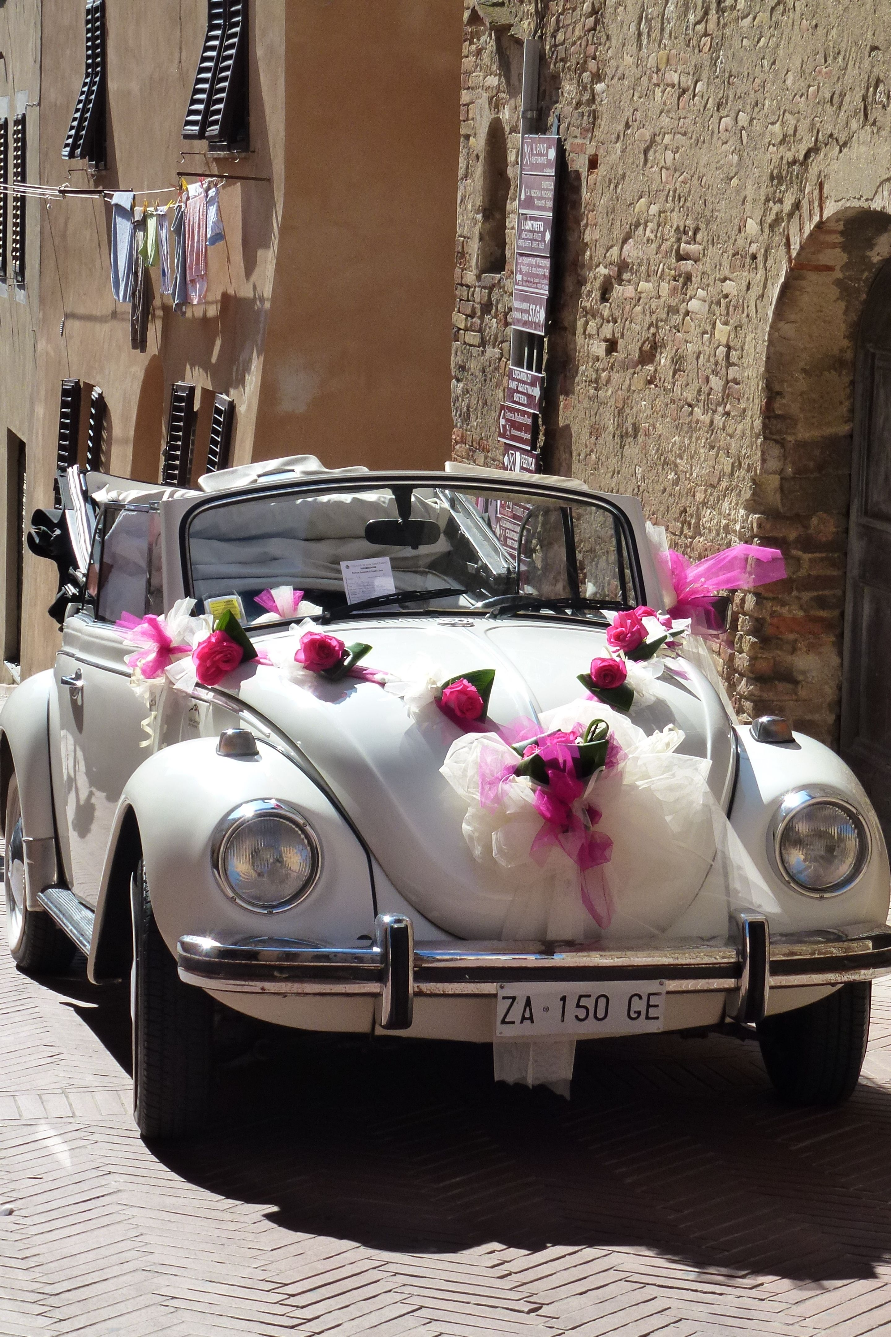 """This is a make ahead style of car decoration. Can be attached to ribbon then only the ribbon will needs to be attached to the car.  Love the """"V"""" shape on the hood."""