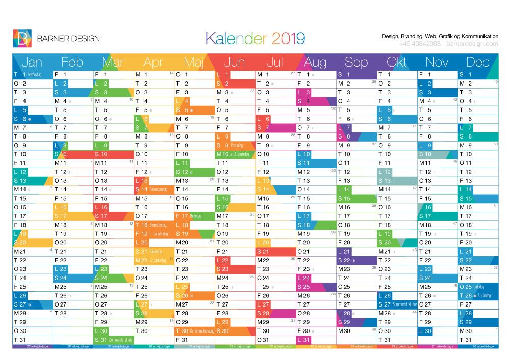 download gratis kalender 2019 pdf print selv a4 og a3 format barnerdesign farver version. Black Bedroom Furniture Sets. Home Design Ideas