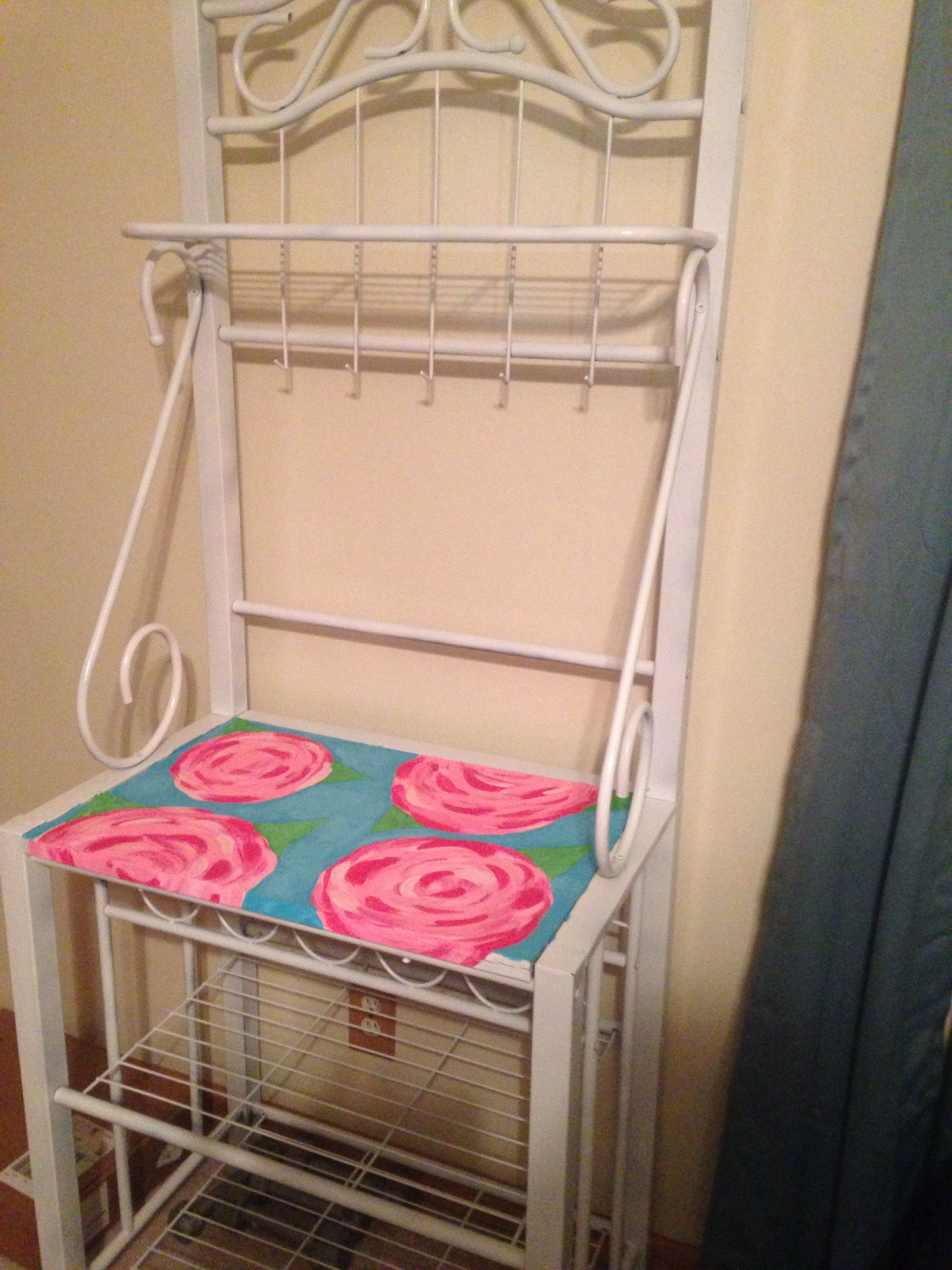 Lilly pulitzer bakers rack diy