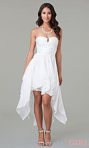 Buy High Low Strapless Dress at PromGirl