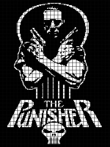 The Punisher Crochet Graphghan Pattern Chart Graph And