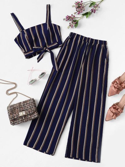 Plus Knot Front Striped Top & Pant is part of Outfits - Shop [good name] at ROMWE, discover more fashion styles online