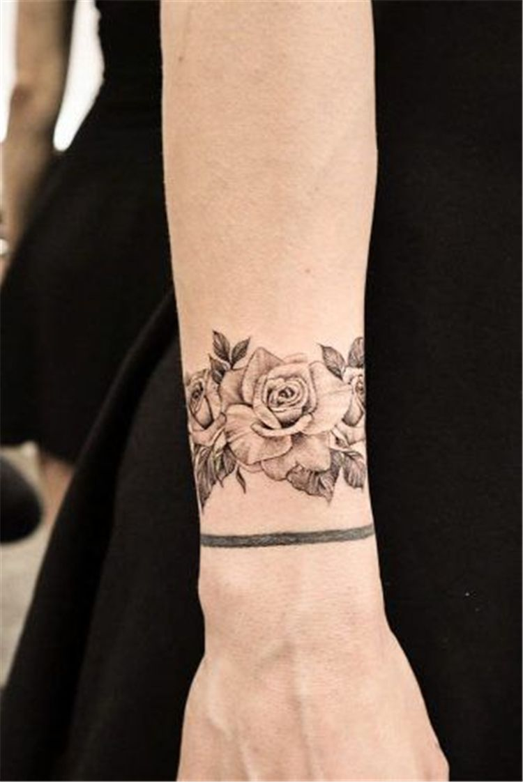 50 Meaningful Wrist Bracelet Floral Tattoo Designs You Would Love To Have Page 14 Of 50 Cute In 2020 White Wrist Tattoos Vintage Rose Tattoos Rose Tattoos On Wrist