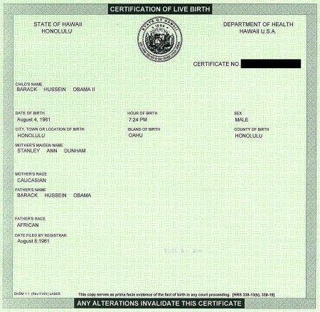 A comparison of 3 Hawaii birth certificates (including Obamau0027s - new california birth certificate sample