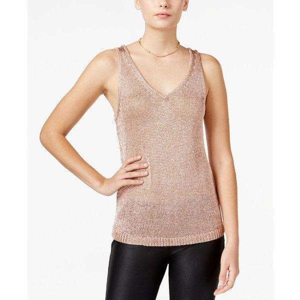 Bar Iii Metallic Sweater Tank Top, ($40) ❤ Liked On Polyvore Featuring Tops