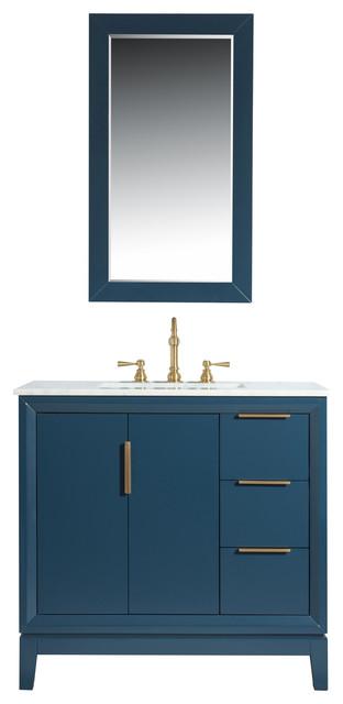 Elizabeth 36 Single Sink Carrara White Marble Vanity Monarch Blue Contemporary In 2020 Contemporary Bathroom Vanity Marble Vanity Transitional Bathroom Vanities