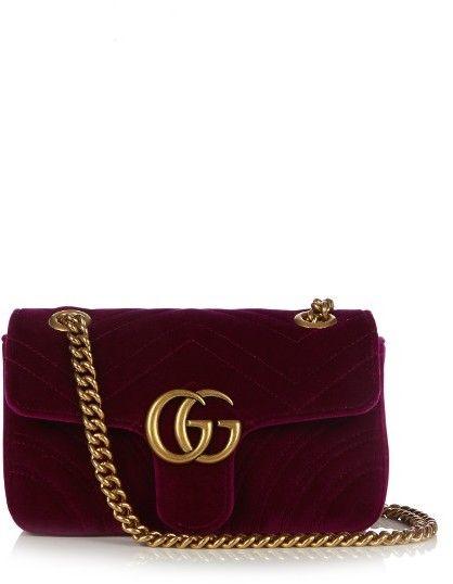 77105c78d65 Gucci GG Marmont mini chevron-velvet cross-body bag - ShopStyle ...