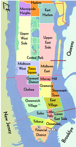 Les Quartiers De New York Manhattan Voyage New York Vacances New York Carte De Manhattan