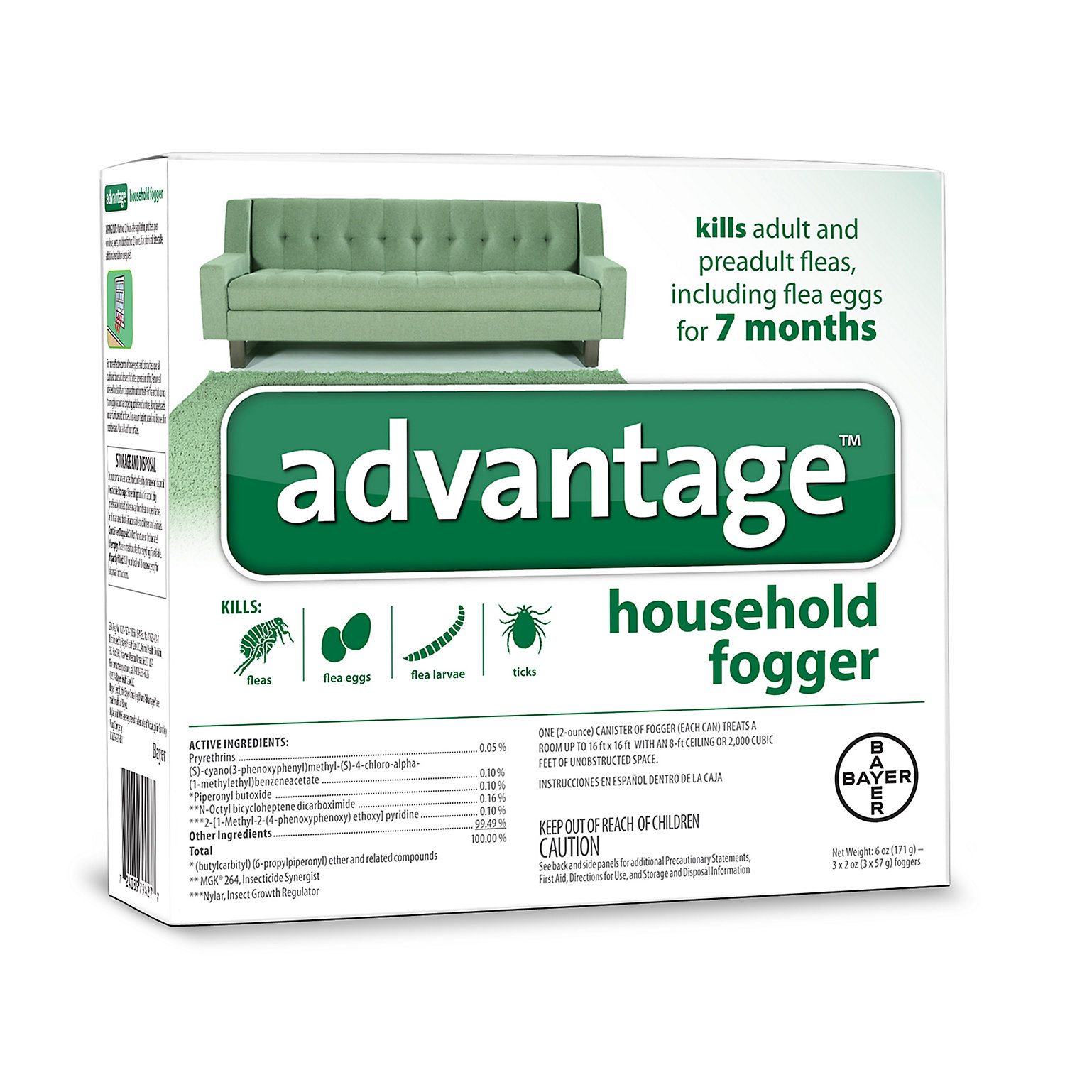Advantage Household Fogger, Pack of 3 2 oz. cans Flea