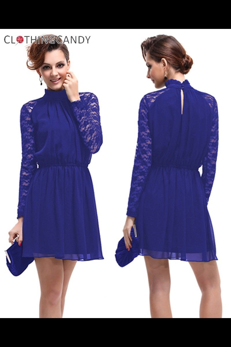 Blue Long Sleeves Elegant Cocktail Dress Shop online for prom ...