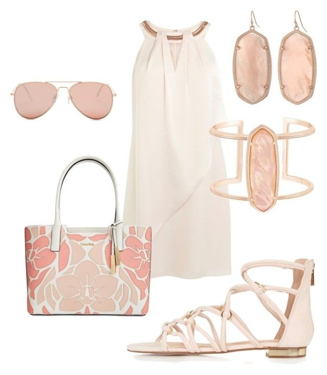Blush halter dress #982 by highheelsandhotflashes on Polyvore featuring polyvore, fashion, style, Coast, Topshop, Calvin Klein, Kendra Scott, Betsey Johnson and clothing