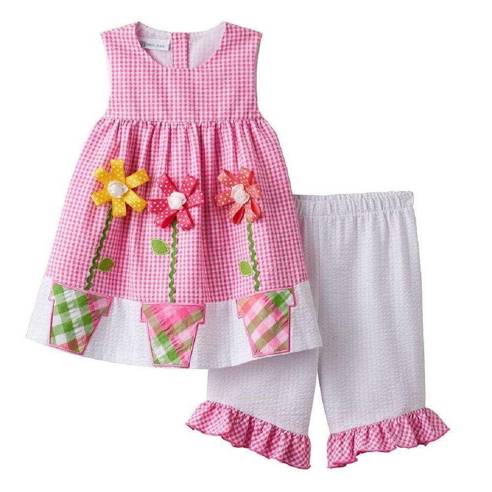Little Girls 2T-6X Pink//Green Flower Applique Dress-Legging Set Bonnie Jean