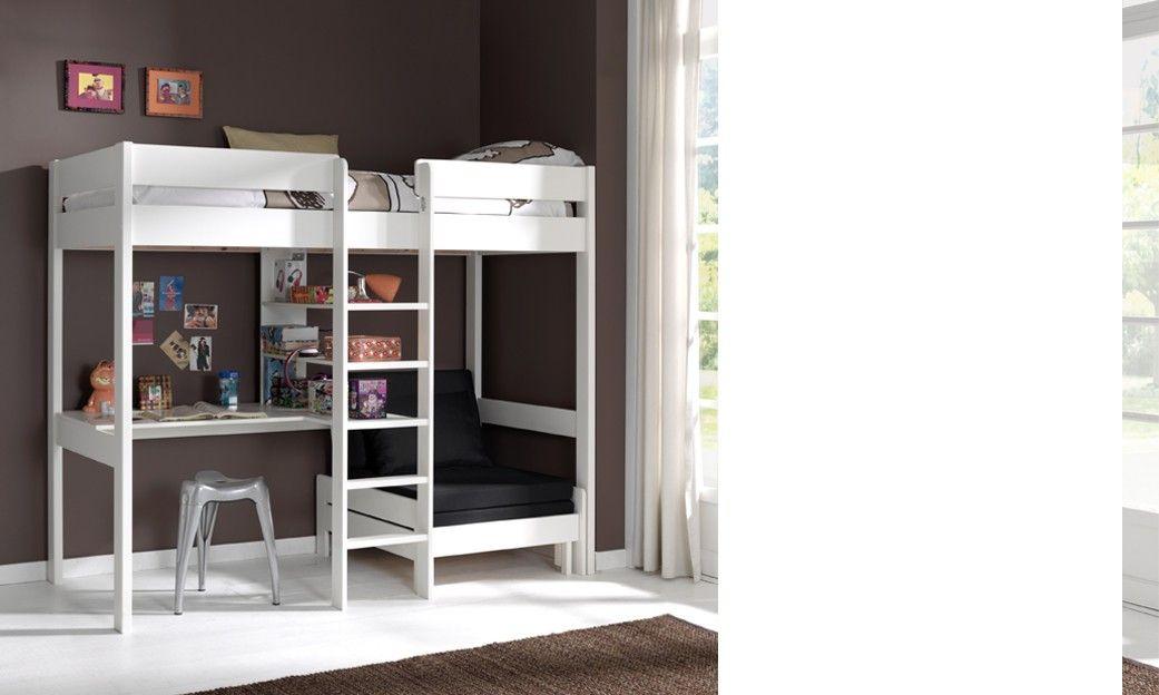 Lit mezzanine avec fauteuil et bureau aubin en pin massif coloris