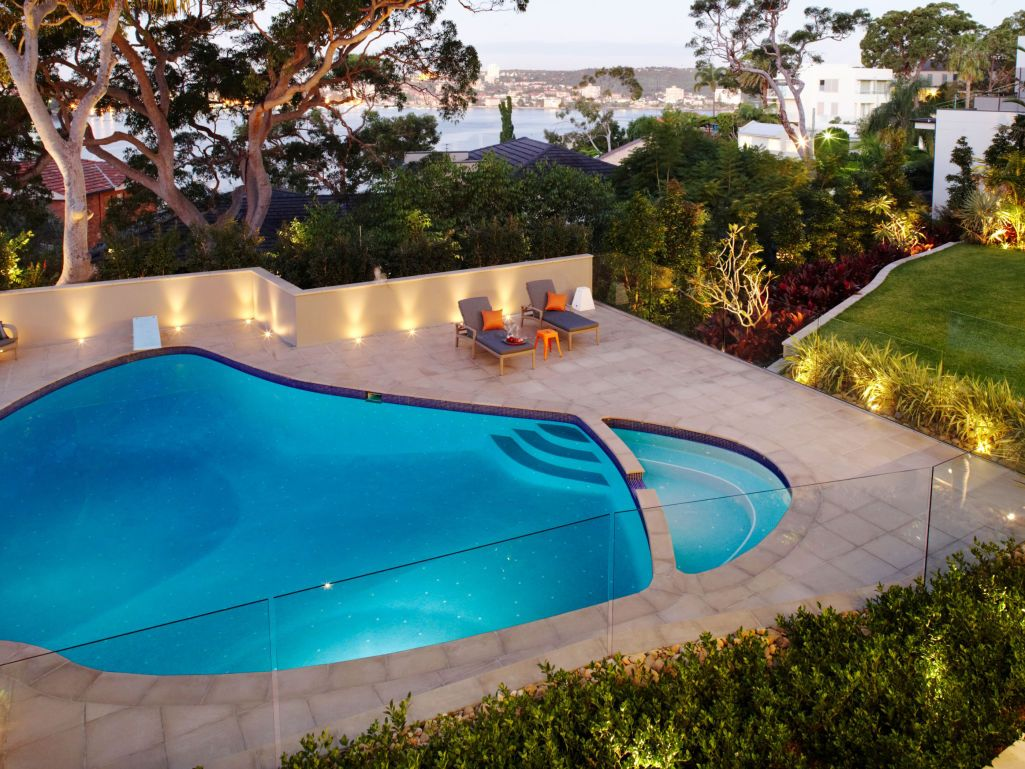 Eco outdoor twill concrete pavers used as pool coping and for Eco landscape design