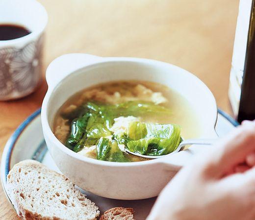 レタスと卵のあったかチーズスープ◆AneCan10月号「忙しい女性の味方!パパッと作れる野菜レシピ厳選3つ」