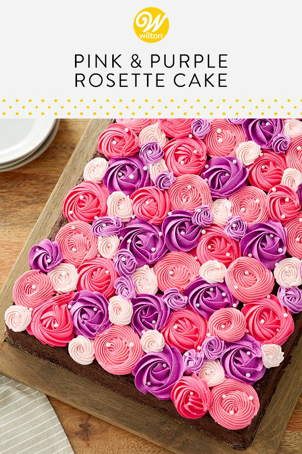 Pink and Purple Rosette Cake This Pink and Purple Rosette Cake is blooming with lovely buttercream rosettes. A simple and easy cake to make for a birthday party or bridal shower, this sheet cake recipe is easy enough for any level of decorator. Top your cake with some simple white Sugar Pearls for that perfect finishing touch!