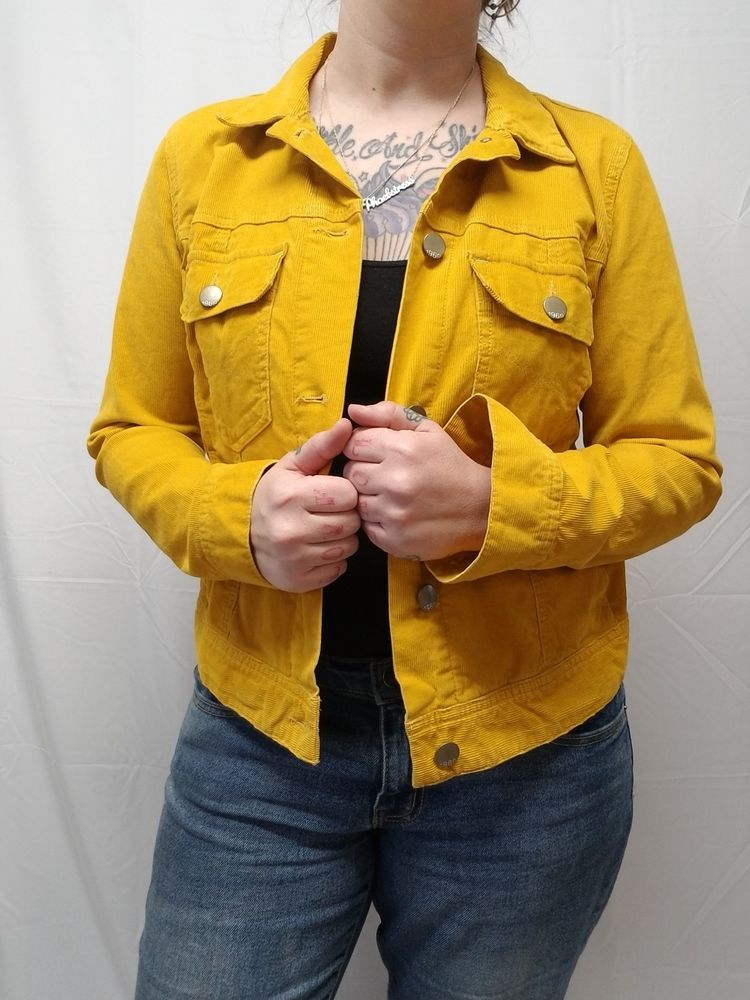 ddd097c53 GAP 1969 Mustard Yellow Corduroy Jean Jacket Style Coat Womens L - PERFECT # Gap #DenimJacket