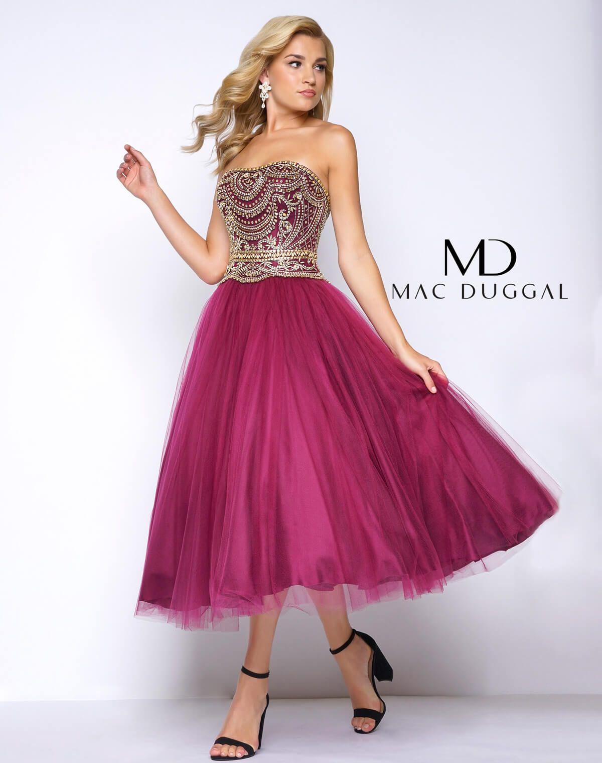 Burgundy, strapless, beaded bodice, tea length prom dress with tulle ...